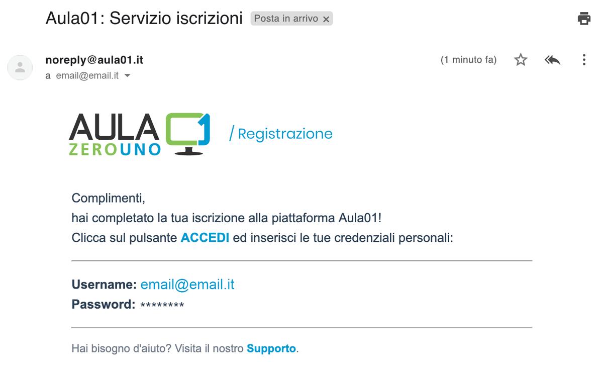 Email registrazione